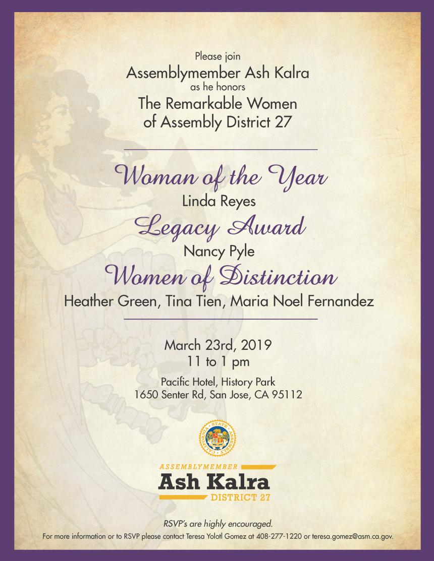 Assemblyman Kalra's Women's History Month Celebration flyer