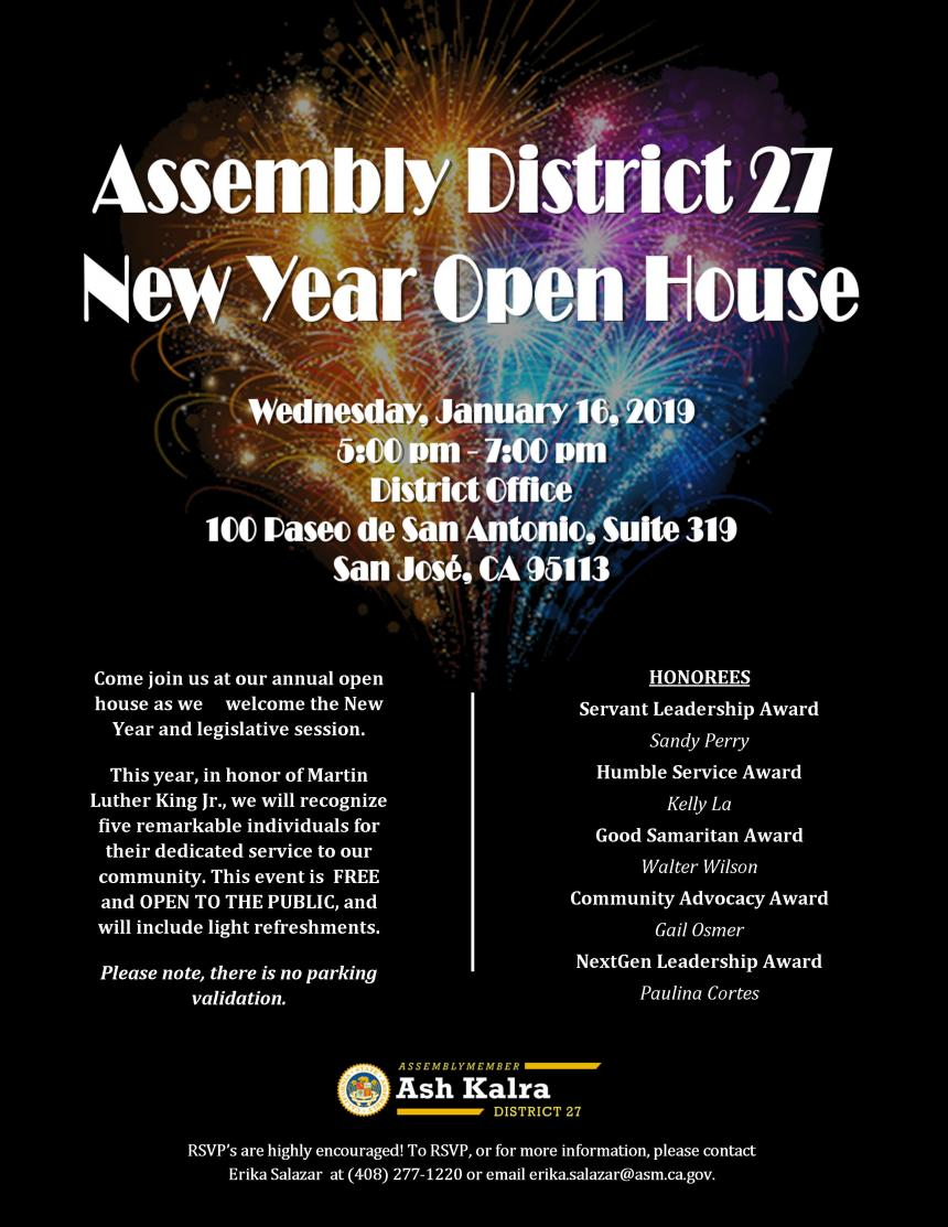 Assemblymember Kalra 2019 District Office Open House invitation jpg graphic