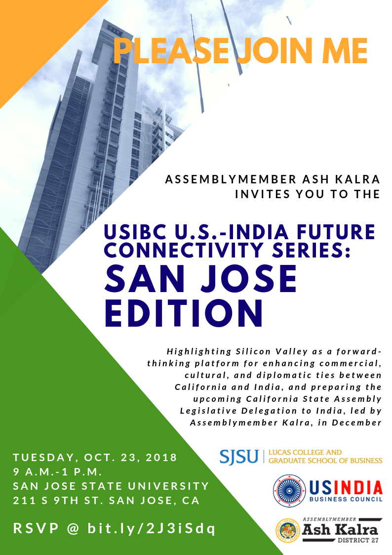 Flyer for U.S.-India Business Council Symposium in San Jose