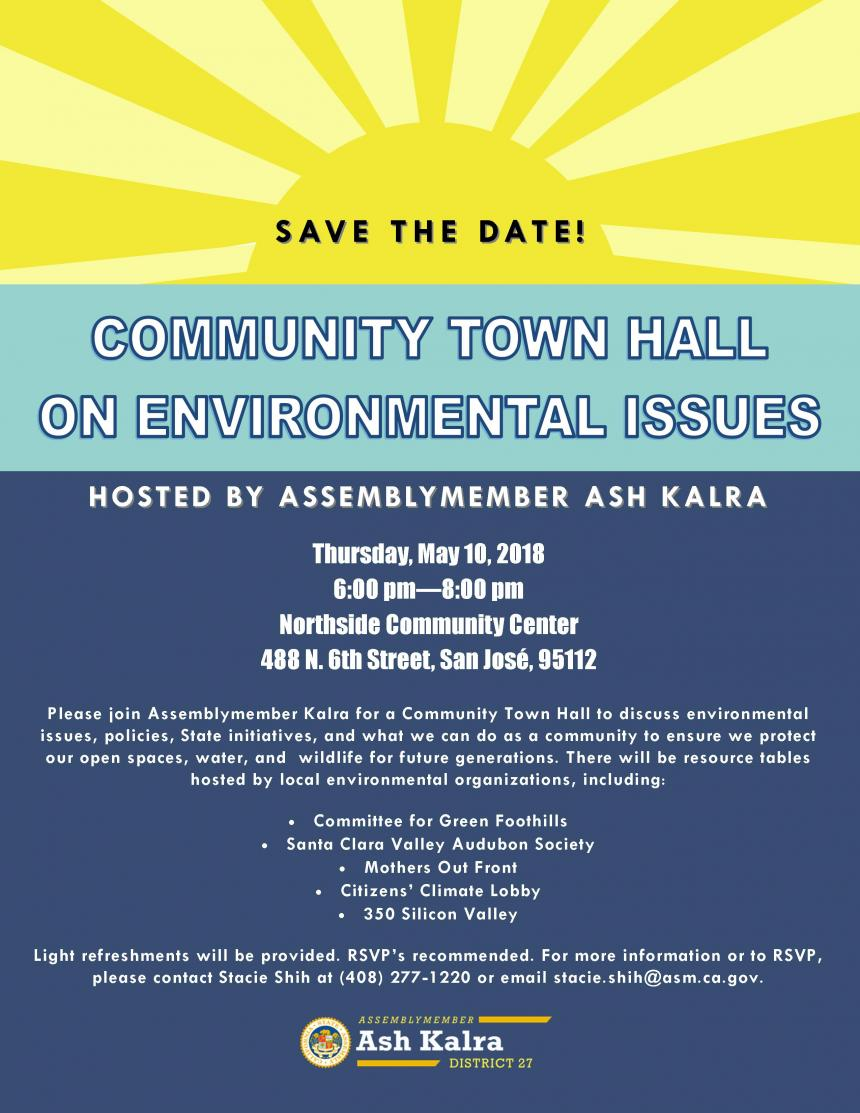 Assemblyman Kalra Community Town Hall event graphic